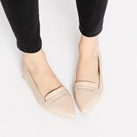 Head Over Heels By Dune Gistle Nude Point Toe Loafer Shoes at asos.com