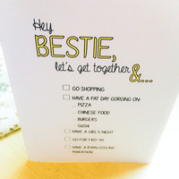 Best Friends Blank Card Hey Bestie// Cute Greeting Card// Everyday Occasion// Thinking About You// For Friends and Besties