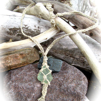 Sea Glass Necklace, Fish Style Pendant with Natural Braided Hemp, Long Adjustable Chain, Green Frosted Sea Glass, Hippie Trippy Boho Style