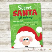 "Secret Santa Gift Exchange Holiday Party Digital Printable Invitation - Green and Red - 5"" x 7"""