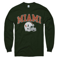 Miami Hurricanes Green Football Helmet Long Sleeve T-Shirt