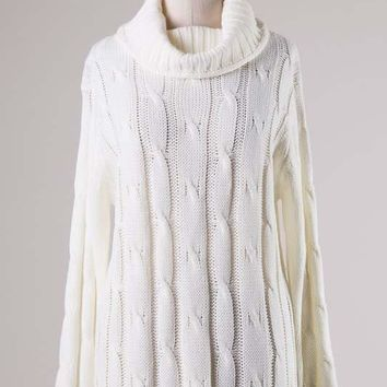 Ivory Wide Turtleneck Cable Knit Sweater