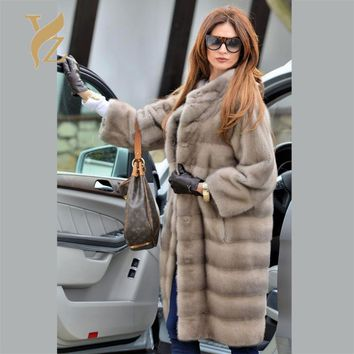 2018 Winter Fashion Real Fur Coats For Women 100% Genuine Mink Fur Overcoats Especially Female Customised Worm Mink Coat Jacket