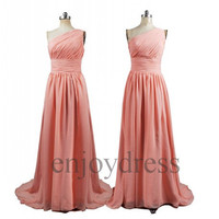 Custom Long One Shoulder Prom Dresses Bridesmaid Dresses 2014 Wedding Party Dresses Party Dress Evening Gowns Fashion Evening Dresses