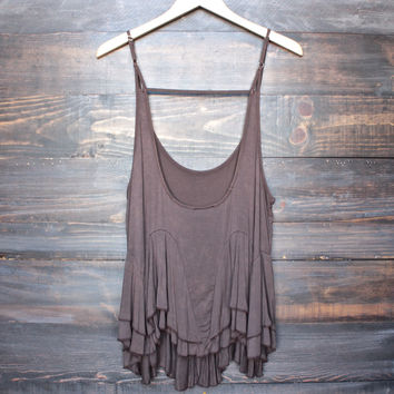 uneven hem acid wash open back women's tank - brown