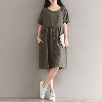 Army Green Solid Round Neck Casual High Waist Patchwork With Button Short Sleeve Cotton Linen Dress Summer New Women