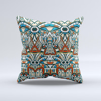 Decorative Blue & Red Aztec Pattern ink-Fuzed Decorative Throw Pillow