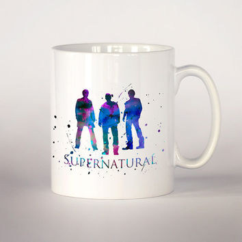 Supernatural coffee mug, Supernatural watercolor 11 oz. Mug art,  tv series mug,  Fan Gift, superhero art, movie mug
