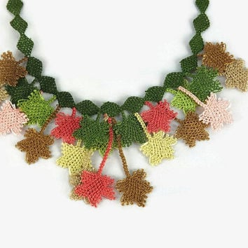 Statement Fall colors crocheted leaves necklace, Tatted Lace Necklace, Turkish Needlework Jewelry,Unique costume jewelry,