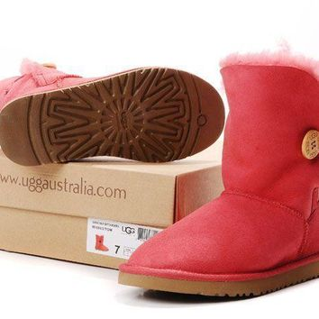 LFMON UGG 5803 Classic Short Women Men Fashion Casual Wool Winter Snow Boots Red