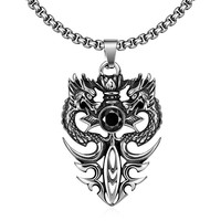 Black Gem Dragon Pendant Stainless Steel Necklace
