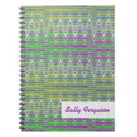 Colorful pink green yellow pattern spiral note book