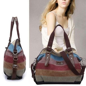 Women Stripe Canvas Handbag Hobo Shoulder Messenger Gallent Crossbody Tote Bag [8833533324]