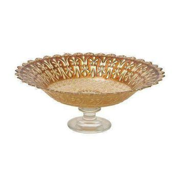 Attractive Glass Footed Brown Bowl