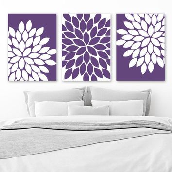 PURPLE Flower Wall Art, Girl Bedroom Wall Decor, Purple Bedroom CANVAS or Prints, Purple Bathroom Decor, Purple Flower Artwork, Set of 3