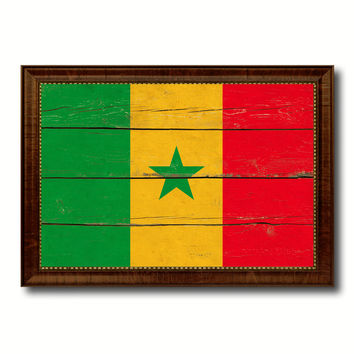 Senegal Country Flag Vintage Canvas Print with Brown Picture Frame Home Decor Gifts Wall Art Decoration Artwork