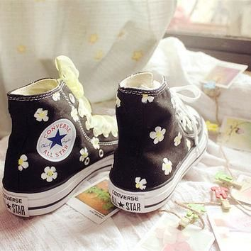 Hand-painted shoes, Converse ,Black background plus white flowers,Lovely Floral
