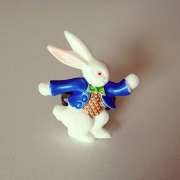 White Rabbit Blue Jacket Ring by RabbitJewellery on Etsy