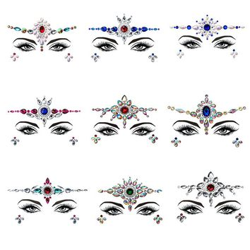 Adhesive Face Gems Rhinestone Temporary Tattoo Jewels Festival Party Body Glitter Flash Temporary Tattoos Sticke New Makeup Set