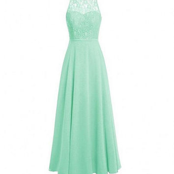 Mint Yellow Cheap Long Wedding Party Dresses O-Neck Lace Bodice Chiffon Bridesmaid Dresses with Hollow Back vestido madrinha