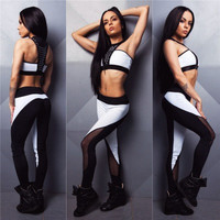 SIMPLE - Hot Popular Women Hollow Bandage See through meshed Two-Piece Yoga Exercise Top Women Tank Vest Suit Outfit a13058