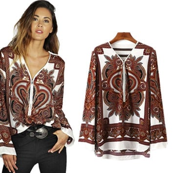 V-neck Long Sleeves Flower Print Casual Blouse