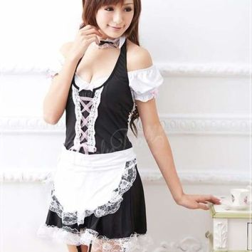 MOONIGHT Sexy Maid Costumes Women Uniform Dress Lace Outfit Cosplay Halloween French Maid Costumes Game Uniform