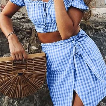 Listen To Your Heart Blue White Gingham Plaid Pattern Short Sleeve Off The Shoulder Tie Crop Top Wrap Skirt Two Piece Casual Mini Dress