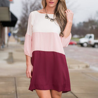 Triple Up Dress, Ivory-Pink