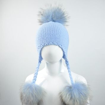 Knitted Baby Hat with Three Real Fur Pompom Children Beanie Boy Girl Natural Raccoon Fur Ball Kids Cap Cute Real Fur Pom Pom Hat