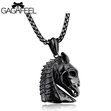 GAGAFEEL Horse Head Pendant Necklace Zodiac Animal Design Stainless Steel Jewelry Vintage Punk