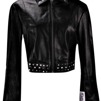 Ladies Sexy Bolero Leather Jacket with Rivets