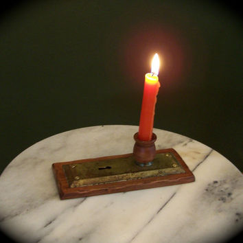 Antique Brass Door Plate Candle Holder with Pine Base.