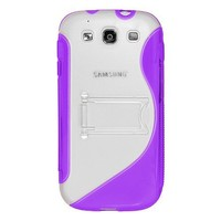 Amzer AMZ94167 Protective TPU Skin Case Cover with Kickstand for Samsung GALAXY S III GT-I9300/Samsung GALAXY S 3 I9300 - Retail Packaging - Purple