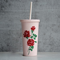 ban.do - sip sip tumbler with straw - will you accept this rose?