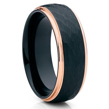 Black Tungsten Wedding Band - Rose Gold Tungsten Ring - Black Hammered