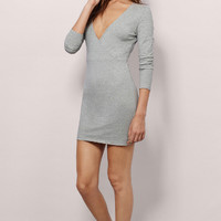Plain V-Neck Long Sleeve Dress