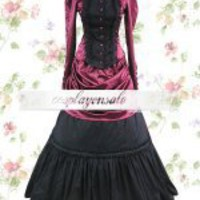 Lolita Costumes Deep Red And Black Long Sleeves Pleated Cotton Satin Classic Lolita Dress [T110143] - $73.00