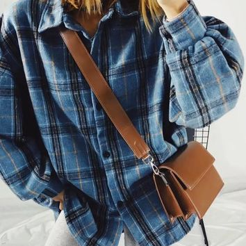 New Blue Plaid Print Turndown Collar Long Sleeve Oversized Blouse