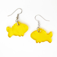 Yellow Goldfish Earrings Free Shipping Laser Cut Fish Earrings Goldfish Jewelry Swimming Pet Aquarium Ocean Finding Nemo Earrings