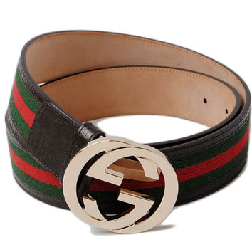 Unused Gucci belts GUCCI interlocking G buckle canvas green / red brown 114876 outlet