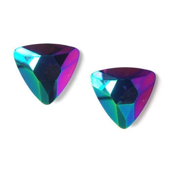 Rainbow Metallic Triangle Studs