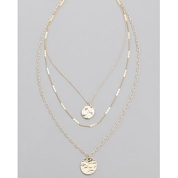 Hammered Disc Layer Necklace