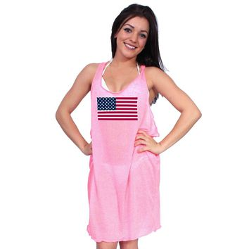 Women's USA Flag Loose Tank Dress Swimwear Cover-up
