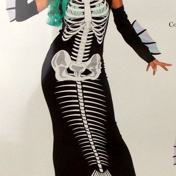 Leg Avenue Skeleton Siren Dress Head Piece Sexy Halloween Costume 86690