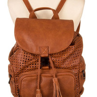 POCKET ACCENT PERFORATED VEGAN LEATHER BACKPACK