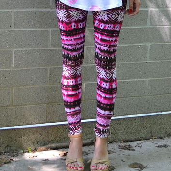 Pink tribal Leggings. Tribal aztec tie dye print.  Pink brown white. xs, s, m, l