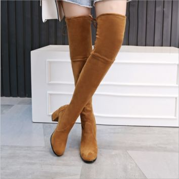 Knee-high boots frosted thick with thin leg stretch boots Camel