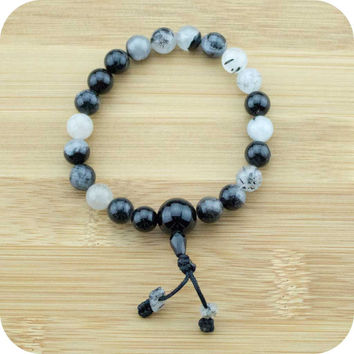 Tourmilated Quartz Crystal Buddhist Mala Bracelet with Black Onyx
