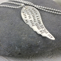 Personalized Angel Wing Necklace - Memorial In Memory Jewelry - Love Necklace - Silver Hand Stamped - MY ANGEL by Christina Guenther